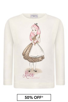 Girls Ivory Alice Cotton Long Sleeve T-Shirt