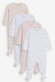 4 Pack GOTS Organic Delicate Bunny Sleepsuits (0-2yrs)