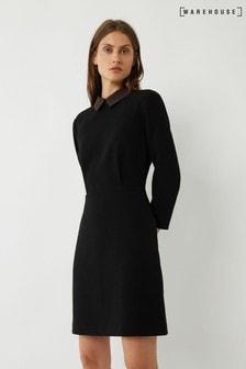 Warehouse Black Zebra Collar Dress