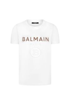 Balmain Boys White Cotton T-Shirt