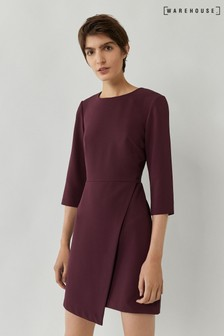 Warehouse Purple Wrap Front Mini Dress