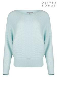 Oliver Bonas Ribbed Blue Batwing Knitted Jumper