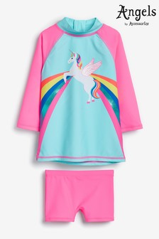 Angels by Accessorize Pink Retro Unicorn Sunsafe Swimsuit