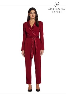 Adrianna Papell Red Crepe Tuxedo Jumpsuit