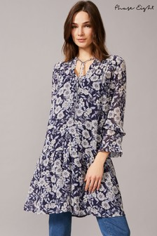 Phase Eight Blue Sassie Floral Chiffon Tunic Dress