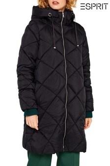 Esprit Black Big Quilted Coat With Hood