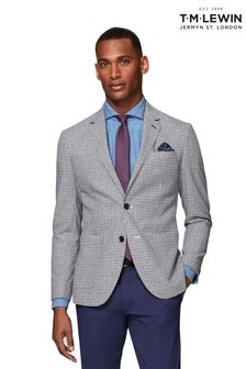 T.M. Lewin Fenchurch Woven In Italy Slim Fit Navy And Neutral Gingham Jacket