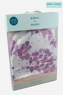 aden + anais Pink Roses Baby Hats Two Pack Gift Set