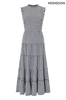 Monsoon Black Gingham Organic Cotton Tiered Midi Dress