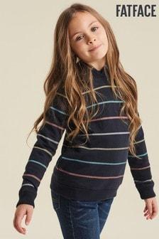 FatFace Blue Metallic Stripe Popover Sweater