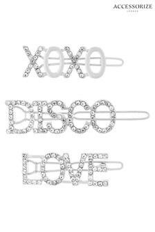 Accessorize Clear Disco Slogan Diamante Slides