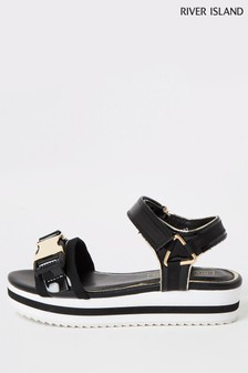 River Island Black Gold Clip Sporty Sandals
