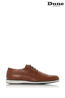 Dune London Bamfield Tan Leather Embossed Wedge Sole Derby Shoes