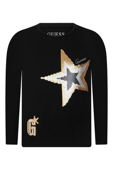Girls Black Cotton Long Sleeve Star T-Shirt