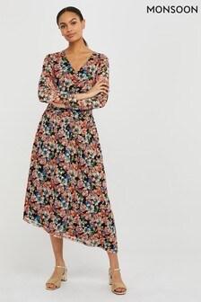 Monsoon Black Flore Floral Mesh Asymmetrical Dress