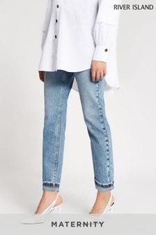 ג'ינסים להיריון מעל הבטן של River Island דגם Denim Medium Mom Maternity Pike