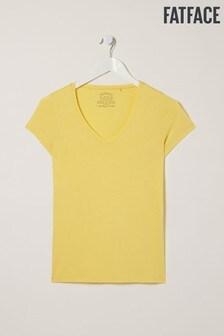 FatFace Yellow Hannah Vee T-Shirt