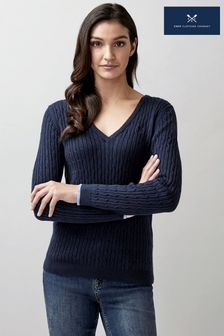 Crew Clothing Company Blue Heritage V-Neck Cable Jumper