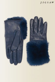 Jigsaw Blue Leather Faux Fur Gloves