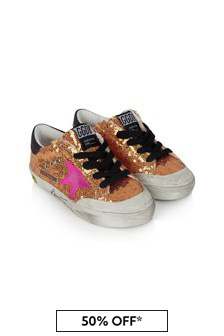 Kids Gold Sequin Superstar Trainers