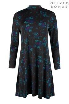 Oliver Bonas Black Ity High Neck Floral Mini Dress