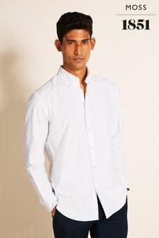 Moss 1851 White Single Cuff Tailored Fit Oxford Shirt