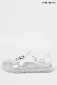 River Island Silver Glitter Caged Jelly Sandals