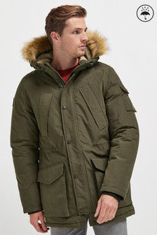 Shower Resistant Parka With Removable Faux Fur Trim
