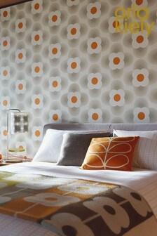 Orla Kiely Grey Striped Petal Wallpaper