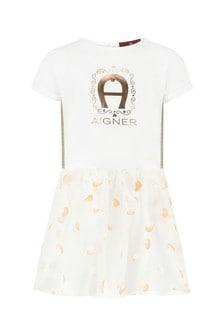 Aigner Baby Girls White Cotton Girls Dress