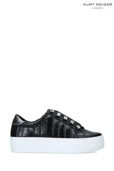 Kurt Geiger London Black Liviah Croc Print Trainers