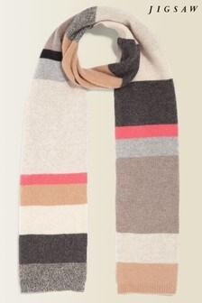 Jigsaw Grey Stripe Block Cashmere Scarf
