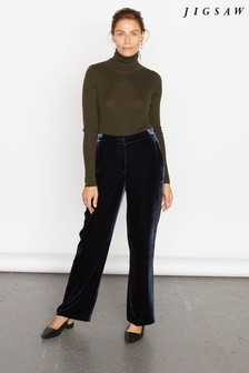 jigsaw Blue Silk Velvet Relaxed Trousers
