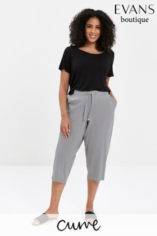 Evans Curve Grey Linen Blend Cropped Trousers