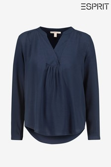 Esprit Blue Crepe Blouse Top With Longer Back