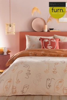 Kindred Abstract Face Duvet Cover and Pillowcase Set by Furn