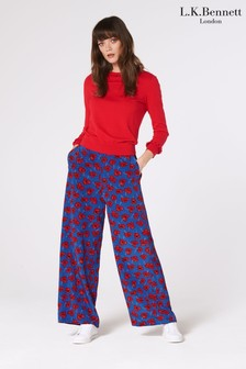 L.K.Bennett Red Lilou Silk Trousers