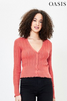 Oasis Orange Pointelle Frill Cardigan