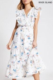 River Island White Embroidery Midi Dress