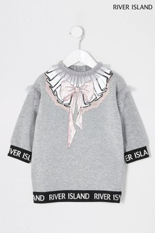 River Island Grey Wordy Sweat Dress
