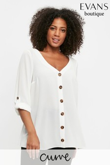 Evans Curve Ivory V-Neck Button Shirt