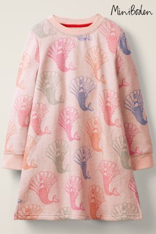 Boden Pink Cosy Printed Sweatshirt Dress