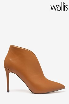 Wallis Tan V Throat Point Ankle Boots