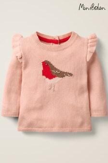 Boden Pink Frill Knitted Jumper