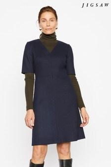 Jigsaw Blue Wool Shift Dress