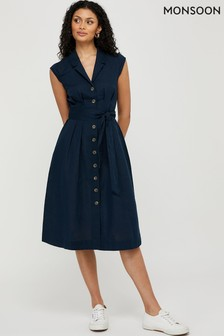 Monsoon Blue Joanna Linen Dress