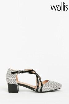 Wallis Black Double Cross Flared Block Shoes