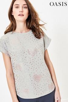 Oasis Grey Foil Heart T-Shirt