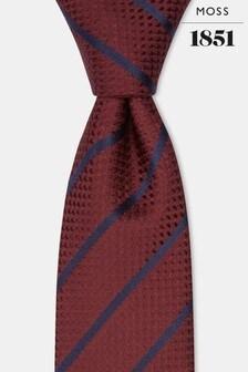 Moss 1851 Wine With Navy Stripe Silk Tie
