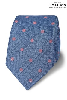 T.M. Lewin Slim Blue And Pink Spot Wool Silk Tie